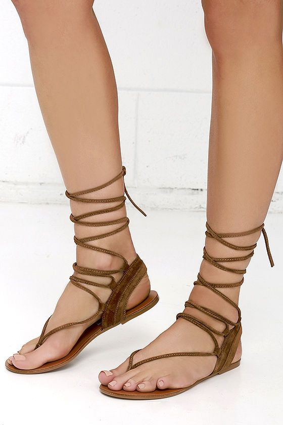 6a7b2000ebe Steve Madden Walkitt Chestnut Suede Leather Lace-Up Sandals