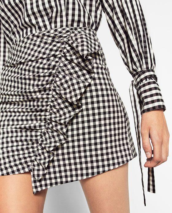 6b8dc7672 Imagen 4 de FALDA MINI CUADRO VICHY de Zara | blusas | Mini falda a ...