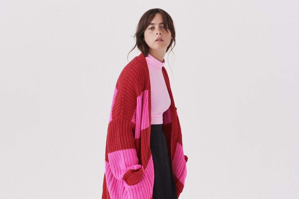 77a97437437e Oversized knitted cardigan Red and pink stripe with 'life is hard' slogan  Centre front