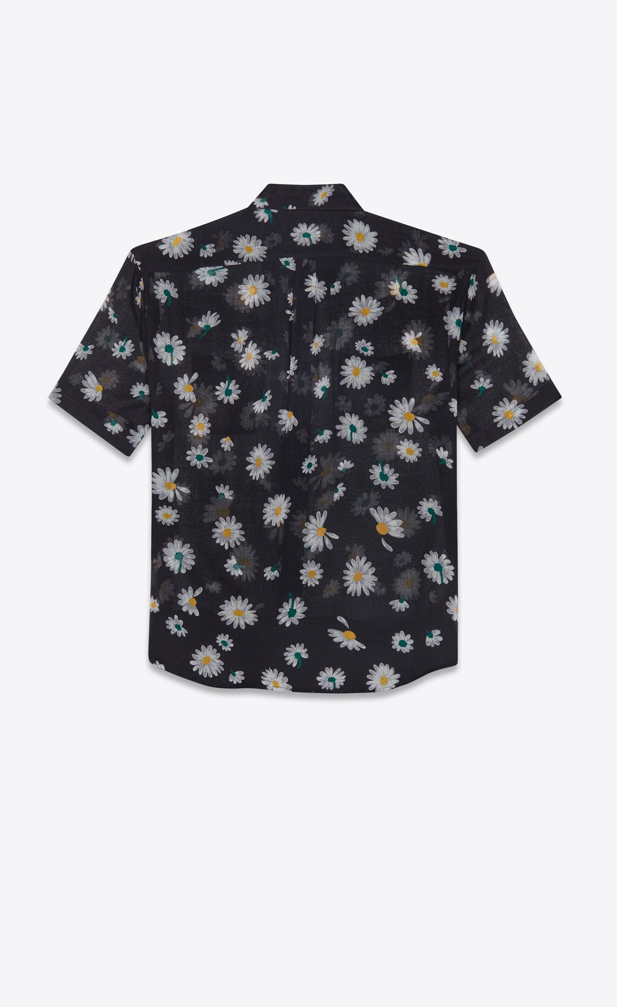 6b0204ee Saint Laurent Yves Collar Shirt In Black Etamine Printed With Daisies |  YSL.com