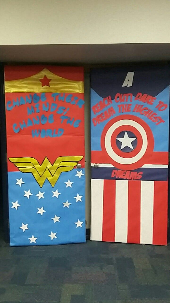 Classroom Decoration Ideas Quiz : Wonder woman captain america classroom door