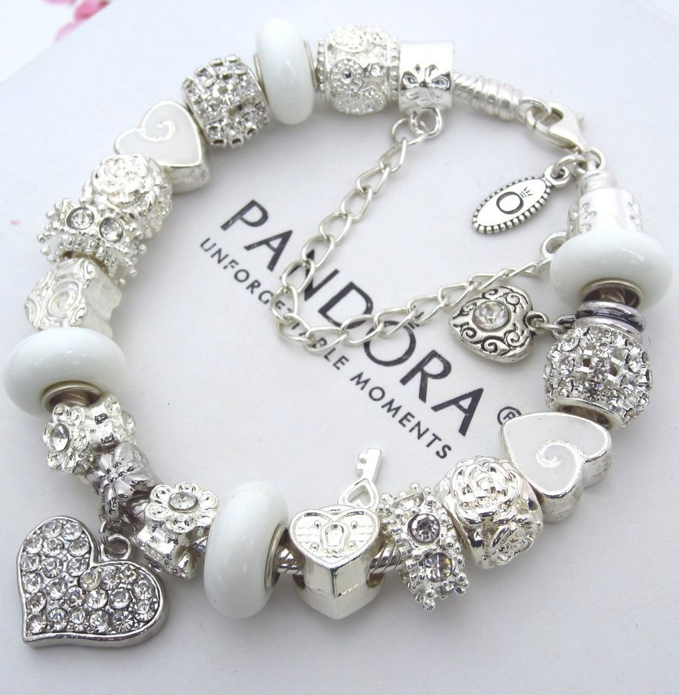 Authentic Pandora Sterling Silver Bracelet With White Crystal Heart Charms  Beads