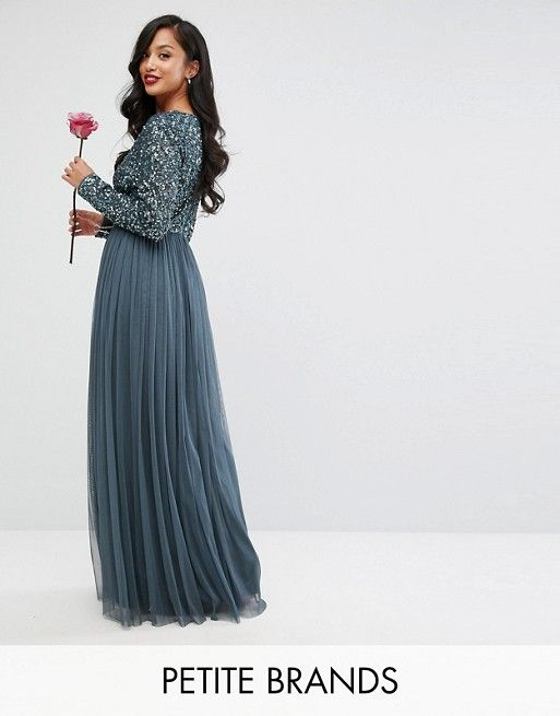 452484a749e Maya Petite Plunge Front Long Sleeve Maxi Dress In Tonal Delicate ...