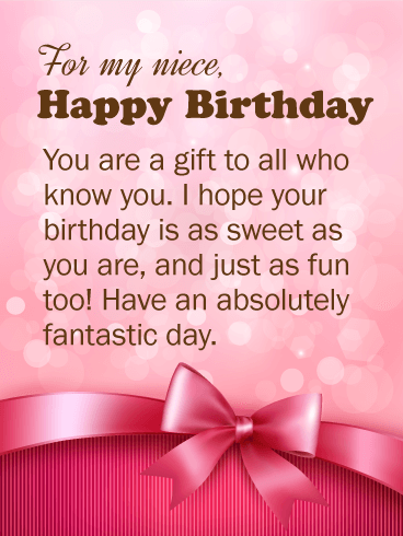 You Are A Gift Happy Birthday Wishes Card For Niece Birthday
