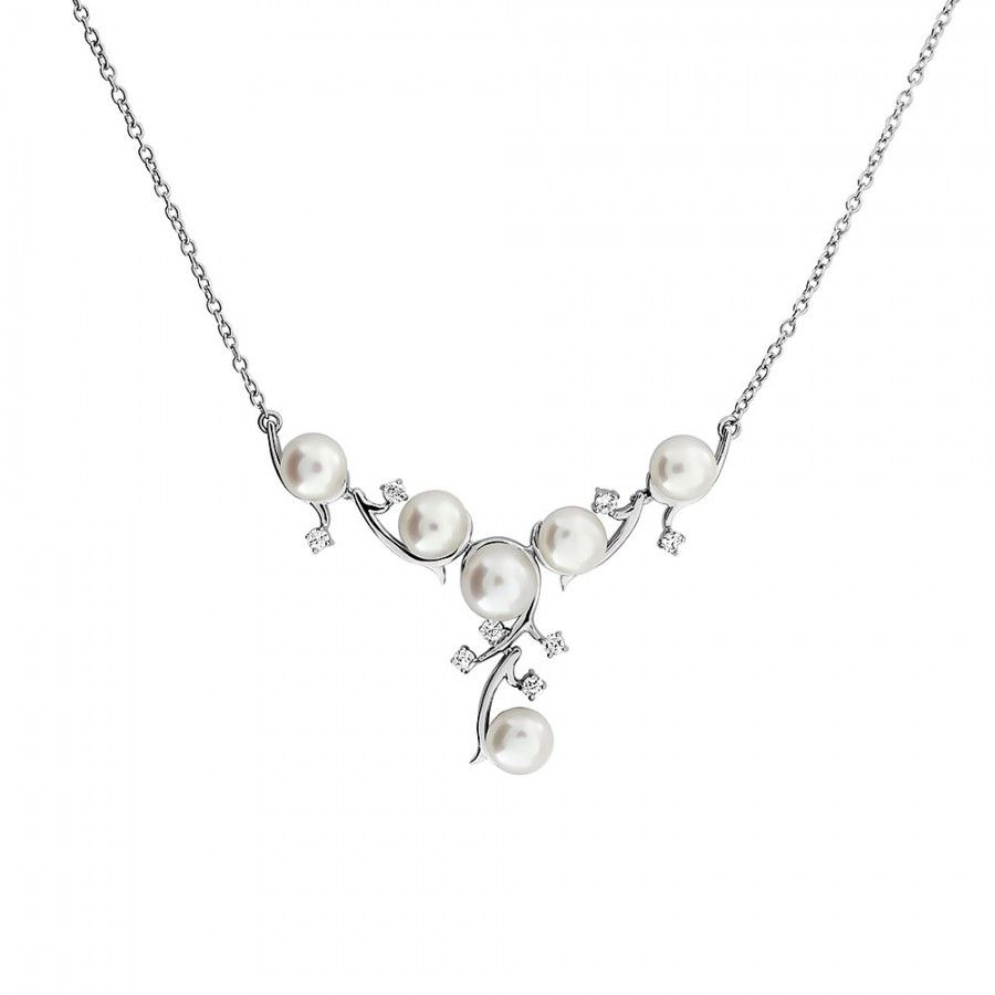 Silver & Pearl Vines Necklace #Silver #Pearl #Bride #BridalJewellery #PearlNecklace #WeddingJewellery #Necklace