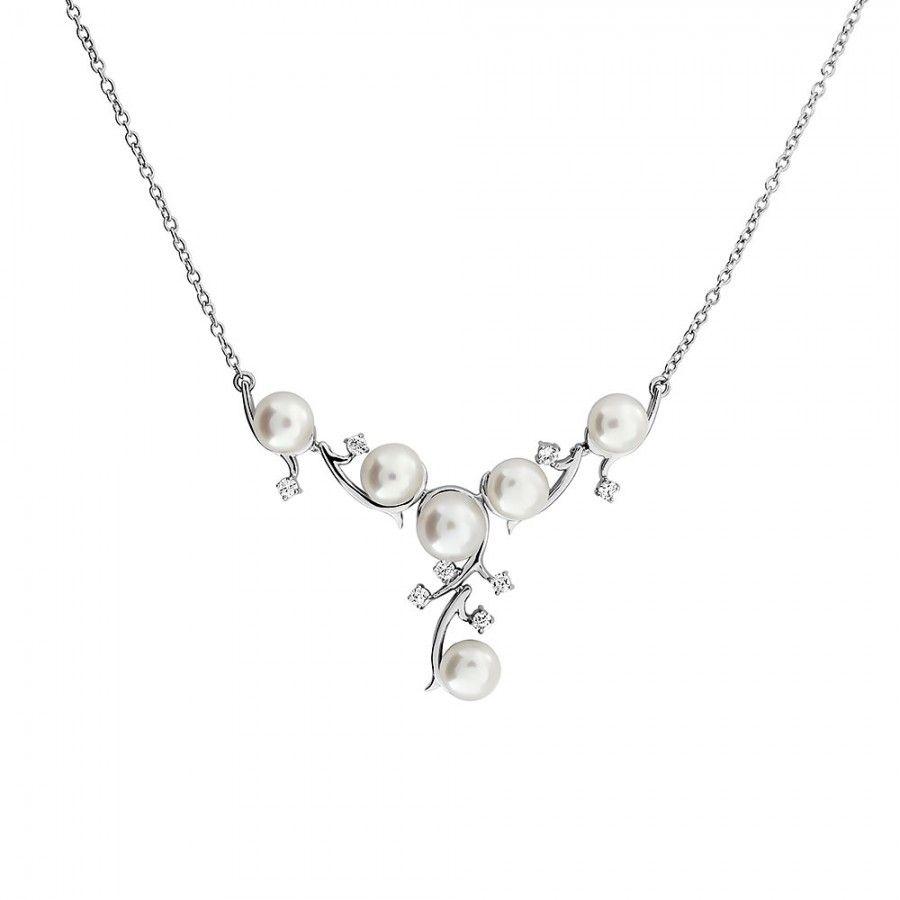 Silver & Pearl Vines Necklace #Silver #Pearl #Bride #BridalJewellery #PearlNecklace #WeddingJewellery #Necklace