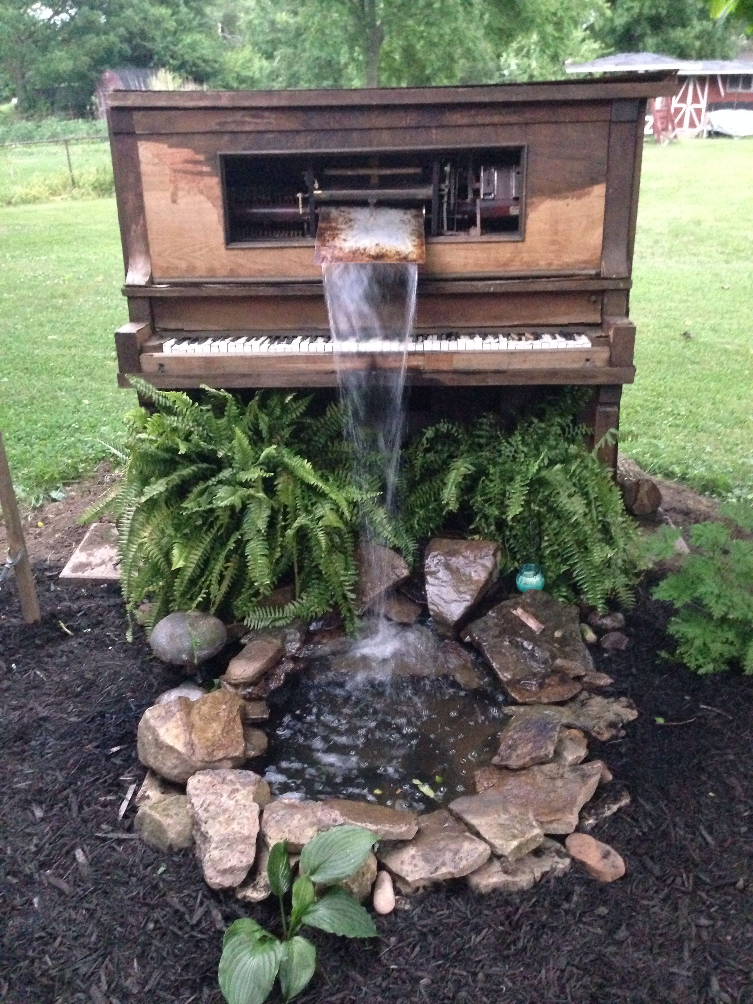 player piano waterfall pond our yard pinterest pianos