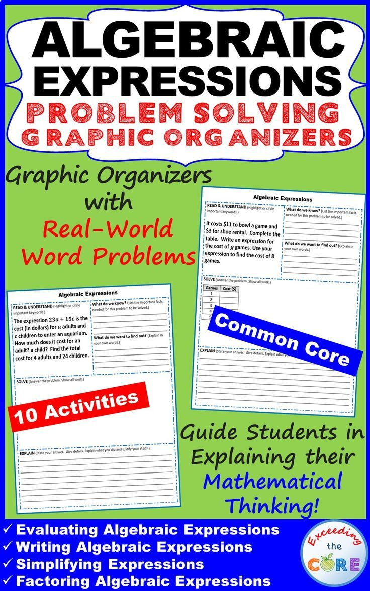 Algebraic Expressions Word Problems With Graphic Organizers Word Problems Algebraic Expressions Evaluating Algebraic Expressions