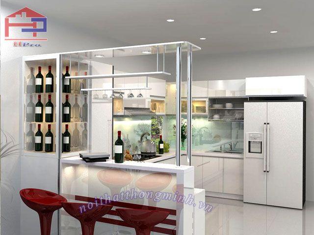 tủ bếp chữ u kết hợp quầy bar  tông màu trắng hiện đại: http://noithatthongminh.vn/tin-tuc/414/cac-tu-bep-chu-u-ket-hop-quay-bar-dep.html