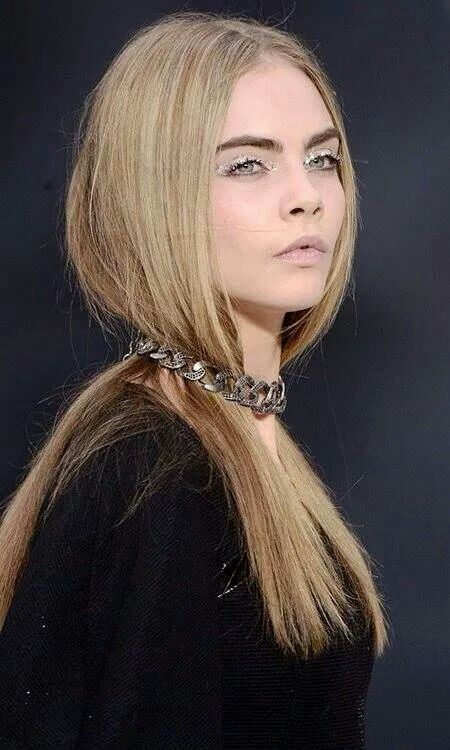 Cara for Chanel spring collection  Blonde long hair and white eyes Beautiful and glamourus make up