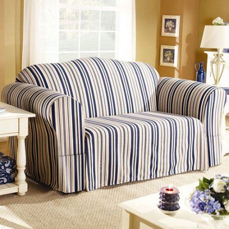 Sure Fit Indigo Stripe Sofa Slipcover, Blue | Products ...