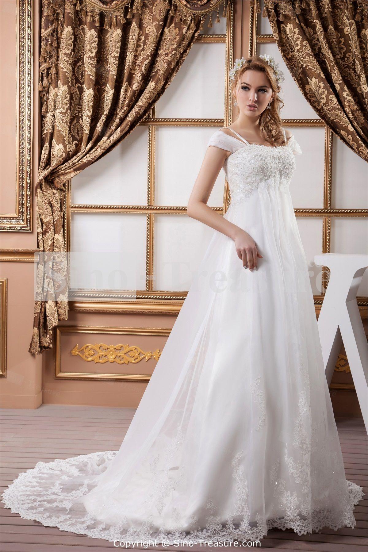 White aline natural straps church court train aline wedding dress
