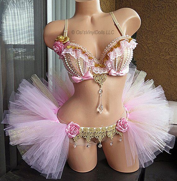 d3f5634de8 Pink and Gold Rave Outfit - Rave Bra