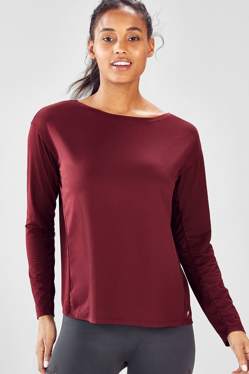 Cashel Cinched L/S Top Black Cherry Active wear tops