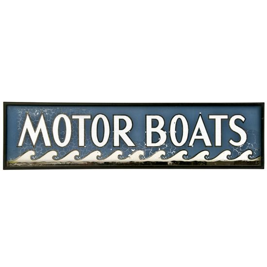 Framed Painted Glass Sign - Motor Boats #huntersalley