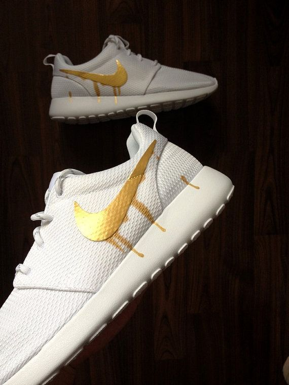 ea19521772d1 Nike Roshe Run One White with Custom Gold Candy Drip Swoosh Paint ...