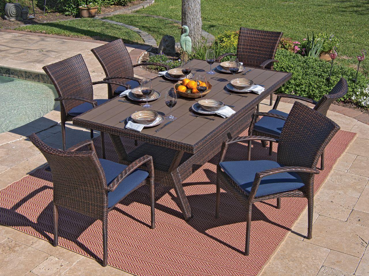 Sierra 7 Pc Aluminum Resin Wicker Dining Set Fortunoff Backyard Store Outdoor Patio Set Outdoor Wicker