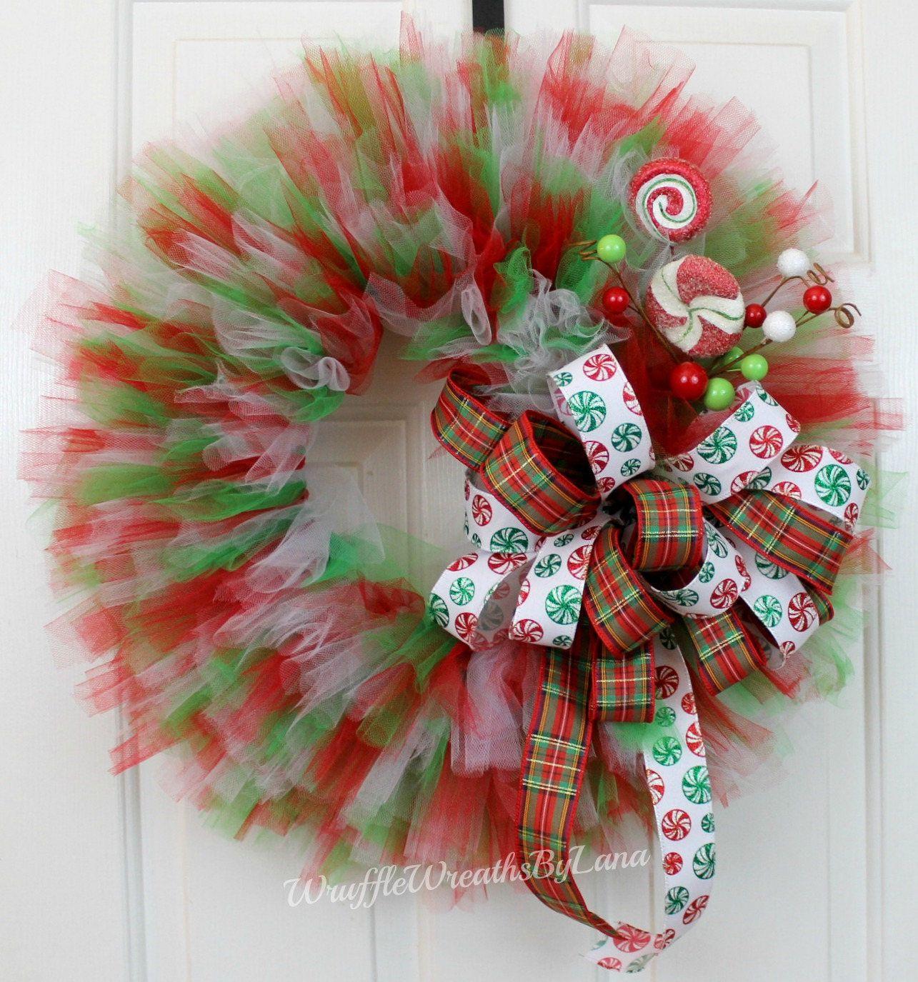 Tulle Christmas Wreath Tulle Holiday Wreath Christmas Wreath