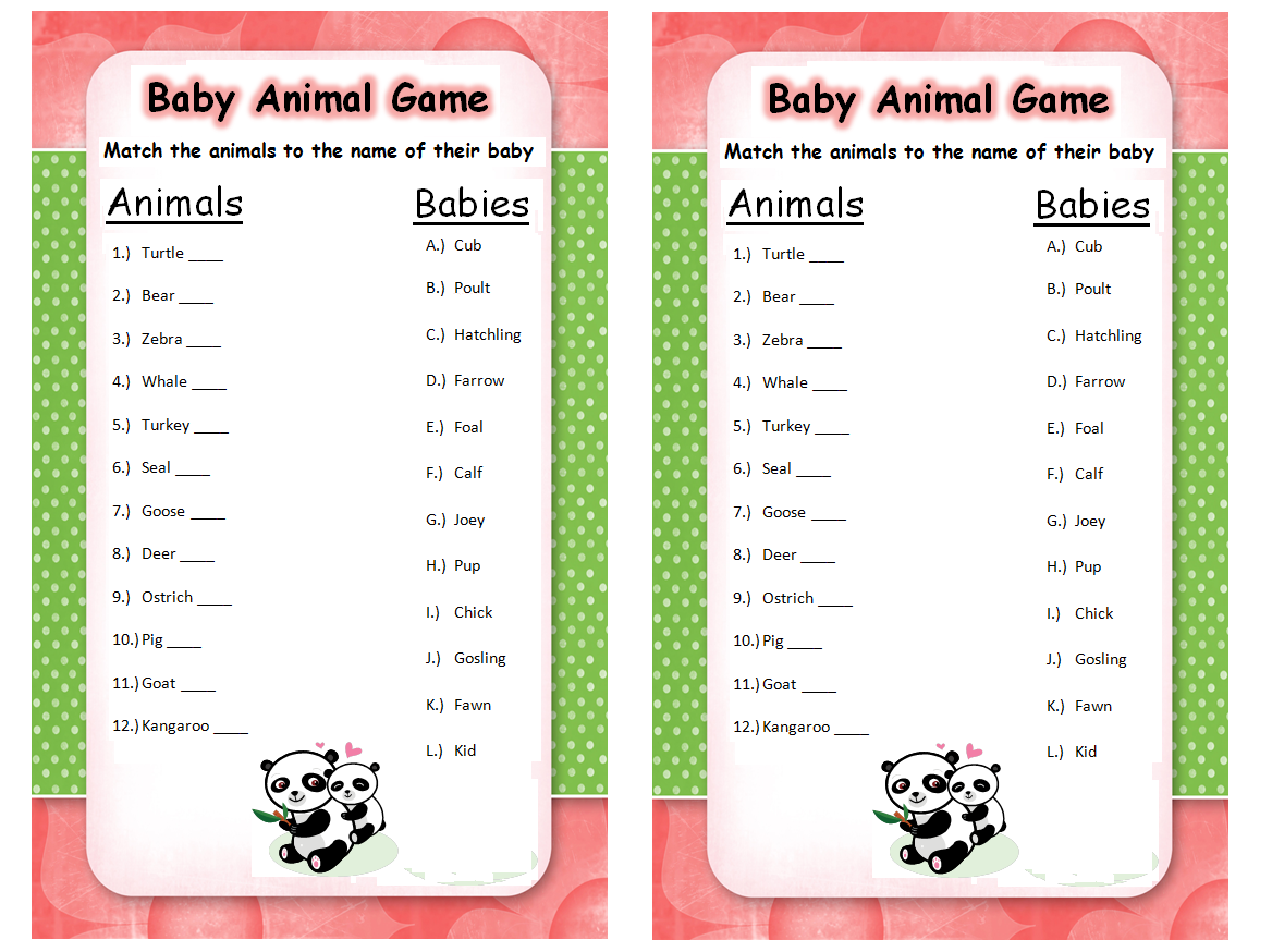 Baby Animal Name Game Answers Are 1 C 2 A 3 E 4 F 5 B 6