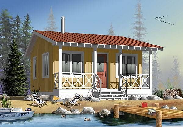 Marvelous Such An Adorable Plan For A Tiny House, Cabin Or Studio! Floor Plan 76165  By Family Home Plans