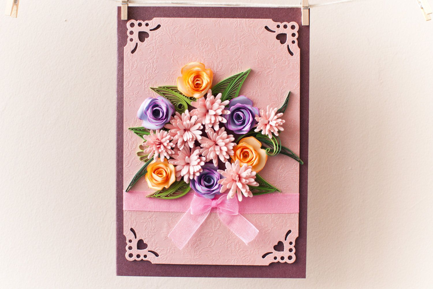 Birthday card greeting card flowers quilled card mothers day birthday card greeting card flowers quilled card mothers day card spring card izmirmasajfo