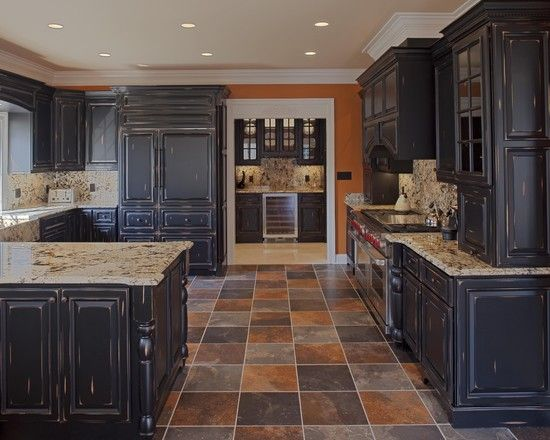 Distressed Milk Paint Kitchen Cabinets Design Pictures Remodel Decor And Ideas Black Kitchen Cabinets Distressed Kitchen Cabinets Eclectic Kitchen