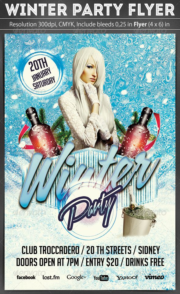 Winter Party Flyer Template Scripts, Fonts and Winter parties
