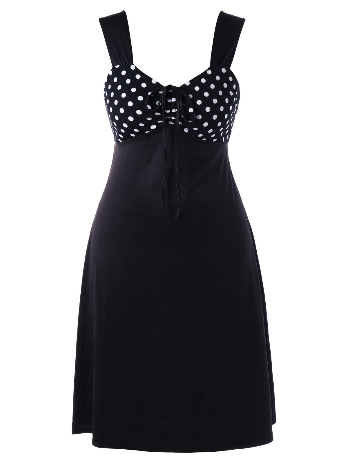 summer dress polka dot sleeveless pin up plus size dress women
