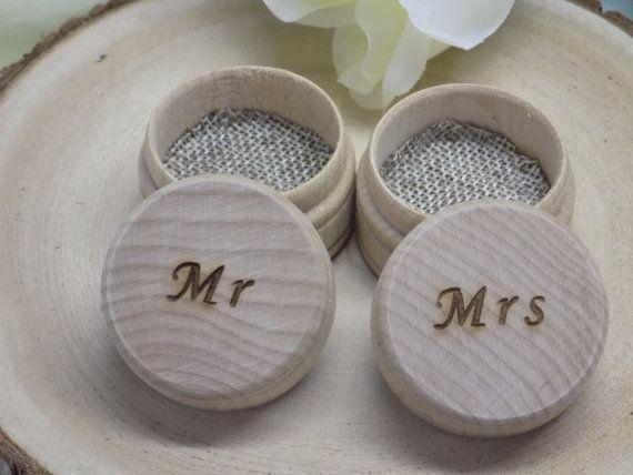 Wedding Ring Bearer Pillow Box Mr Mrs Engraved Keepsake Ring