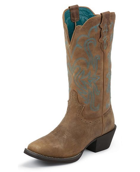 Justin Puma Cowhide Stampede Cowgirl Boots Square Toe