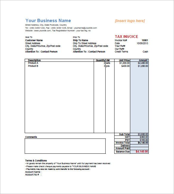 Sample Retail Invoice Templateg 585650 My Documents