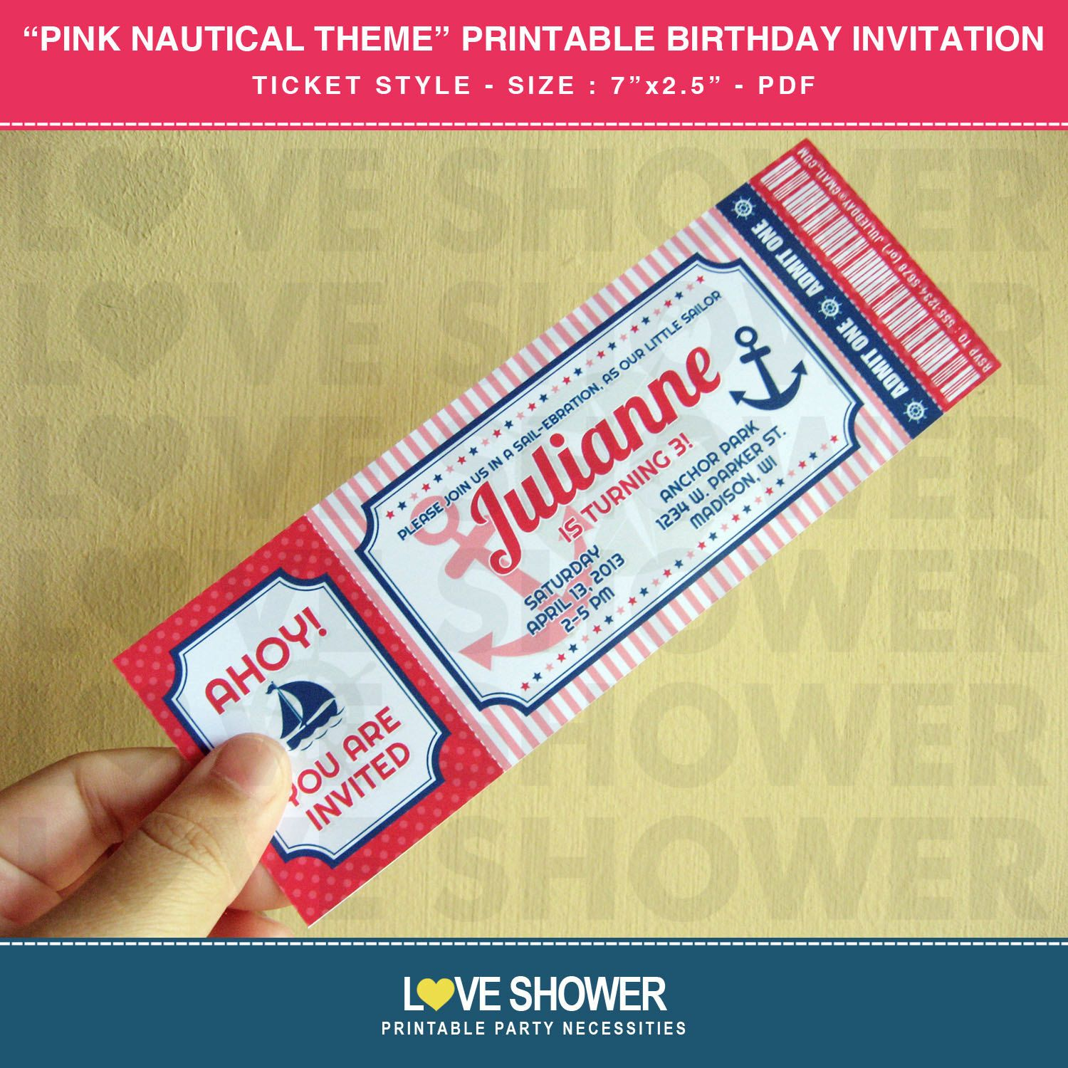 Pink Girly Nautical Printable Birthday Invitation Ticket Style ...