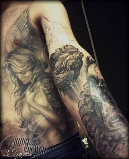 #tattoo #angel #heart #steampunk #octopus #arm #stomach #side