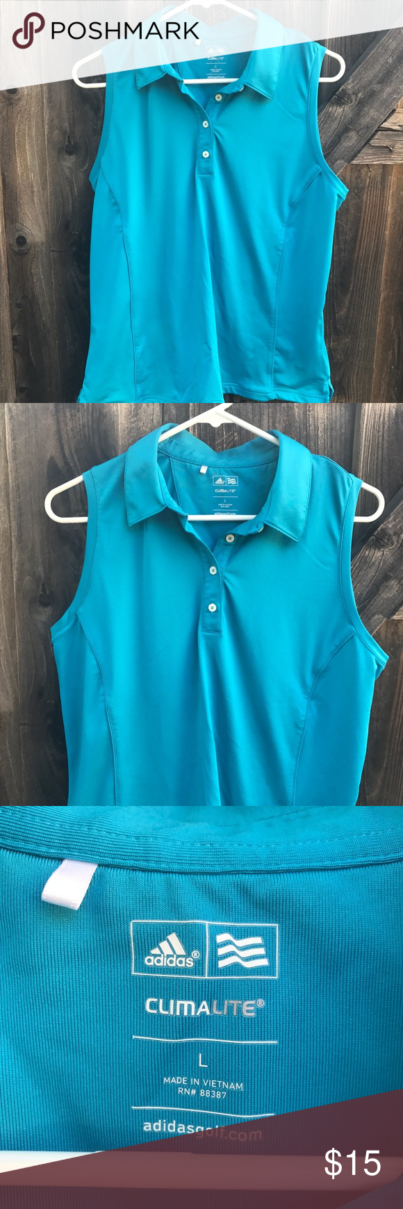 777878fd10ade3 Adidas women golf tank top Adidas women Clima lite golf tank top No stains  or rips Size large Length 25 Armpit to armpit 19.5 Shoulder to shoulder  13.5 L16 ...