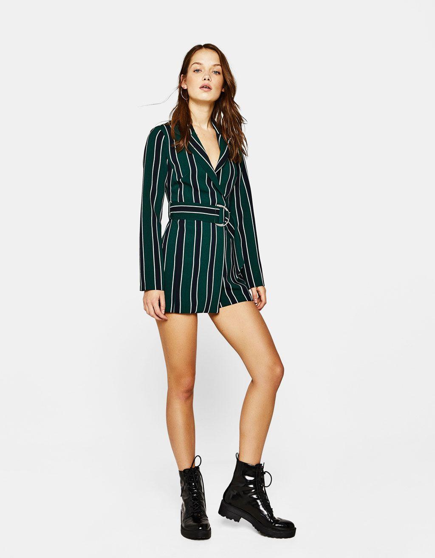 ead6fe11250 Blazer-style jumpsuit with belt - Playsuits   Jumpsuits - Bershka Serbia