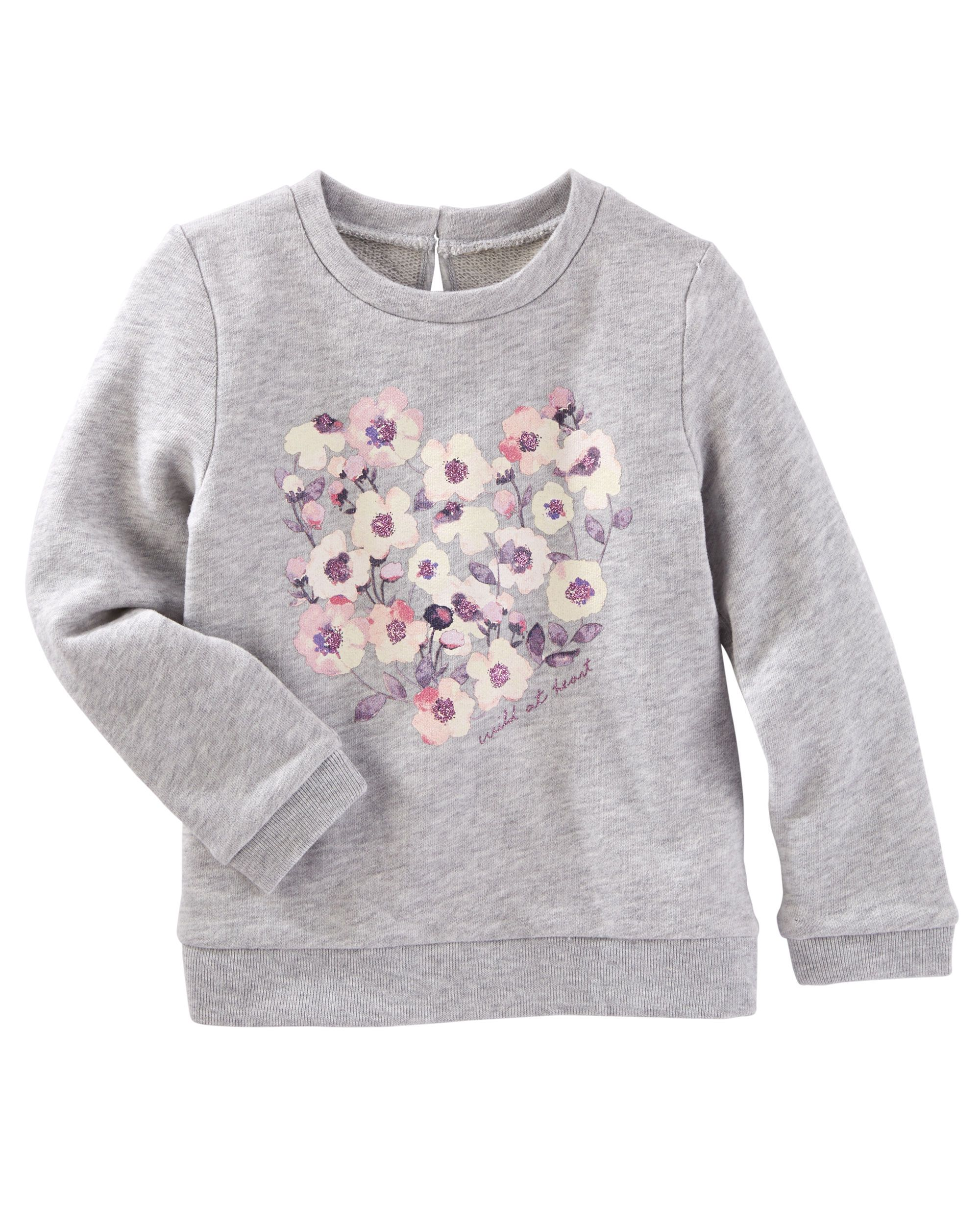 Baby Girl Heathered French Terry Pullover | OshKosh.com