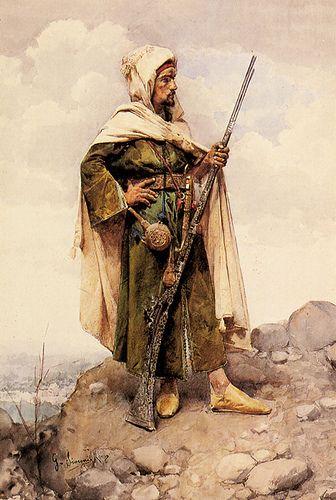 "Gustavo Simoni (1846- ?) - An Arab Soldier. Watercolour and Pencil. Circa 1880-1890. 15"" x 21-3/4""."