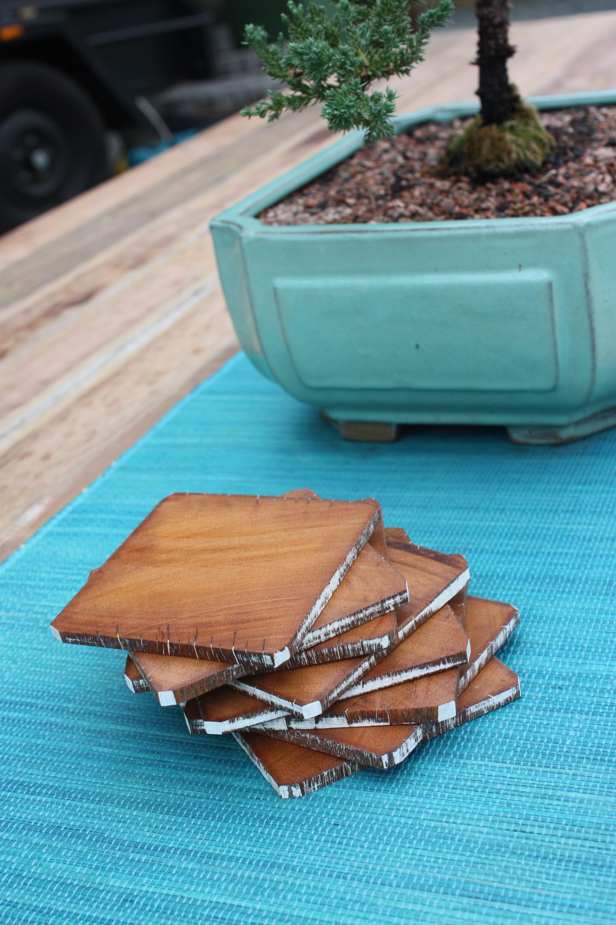 Recycled Australian Hardwood Timber Drink Coasters Ecobuilt Carpentry Landscaping Outdoor Entertaining