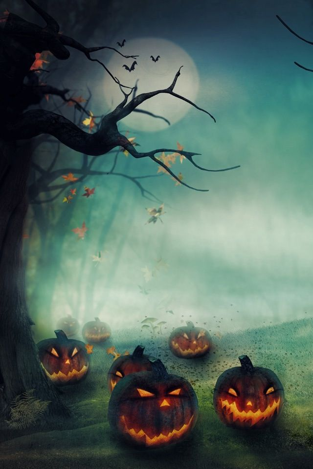 Jack o lanterns Halloween theme iPhone wallpaper