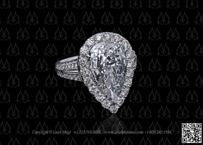 Engagement ring with pear shaped diamond by Leon Mege