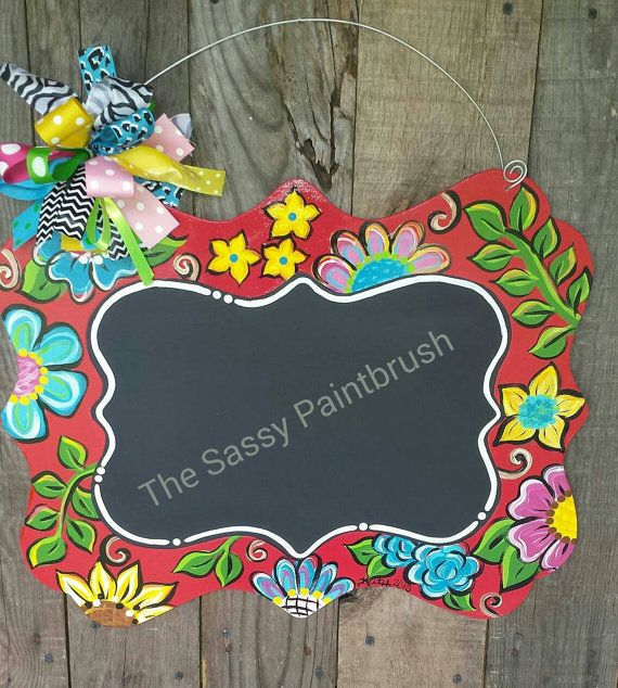Funky floral chalkboard door hanger by TheSassyPaintbrush on Etsy ...
