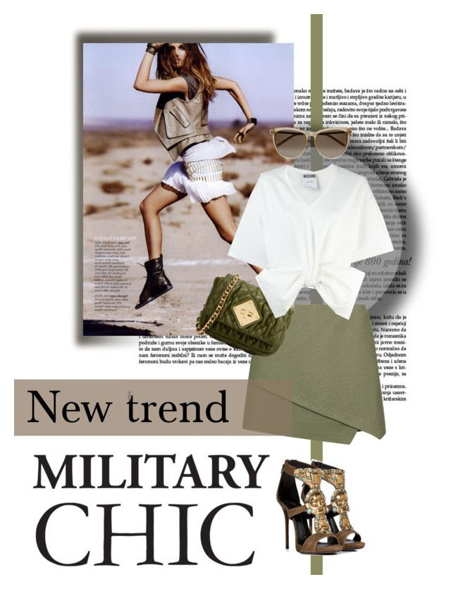 Military Chic by martina-hel on Polyvore featuring mode, Moschino, Topshop, Giuseppe Zanotti, Yves Saint Laurent, trend, military, topset and militarychic