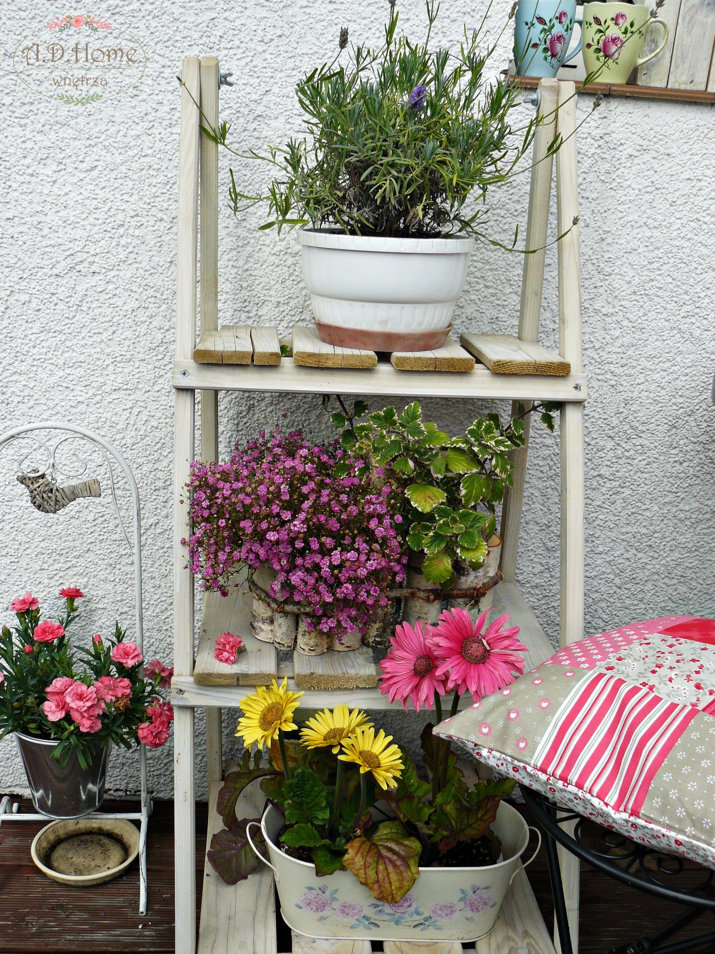 Balkon Taras Aranzacje Kwiaty Drabinka Polka Hand Made Ad Home Home Decor Ladder Decor