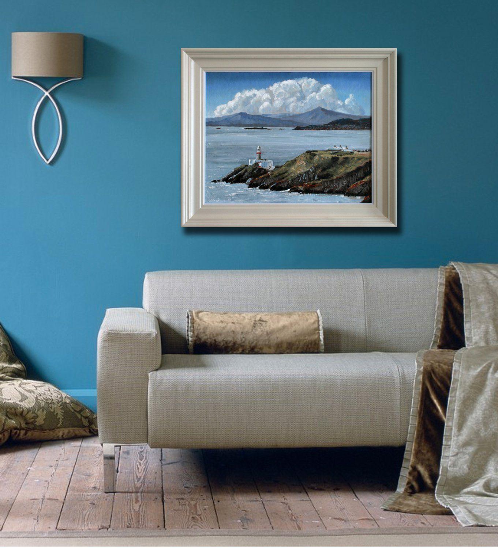 The baily lighthouse hill of howth dublin framed oil painting