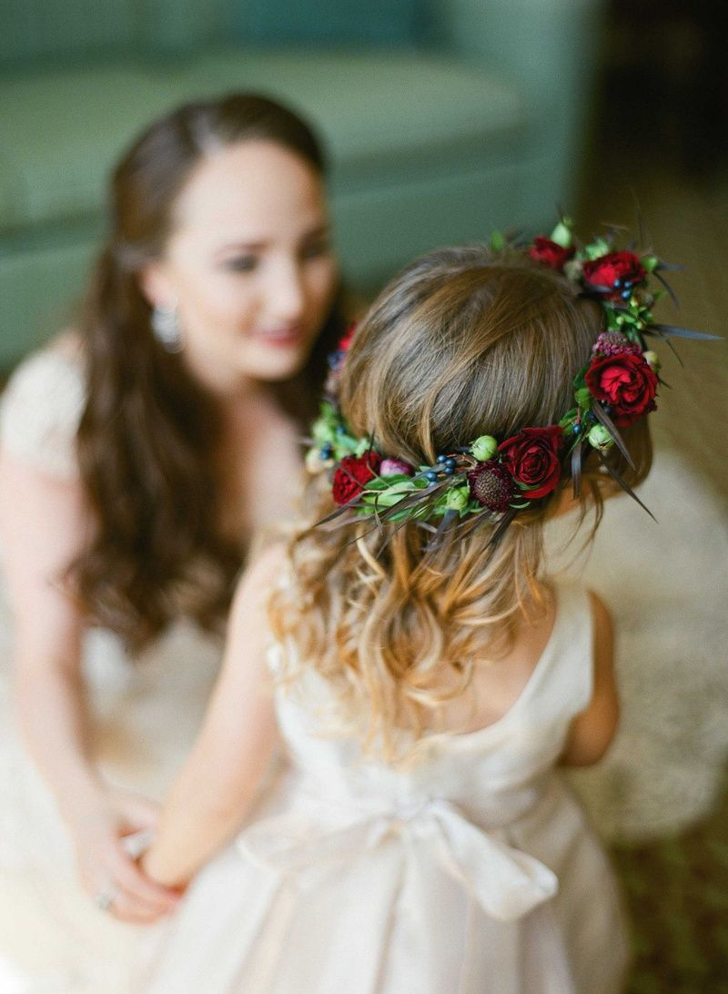 Old world wedding with jewel tone color palette in florida flower flower girl with ruby red flower crown photo justin demutiis photography izmirmasajfo