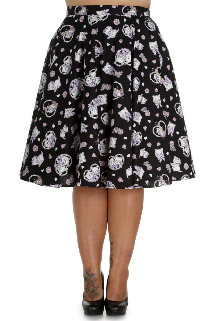 b834363ac05 Adorable and super Kawaii Kitten and floral print circle skirt by Hell  Bunny. Print features kittens and hearts on either a black or blue  background and ...