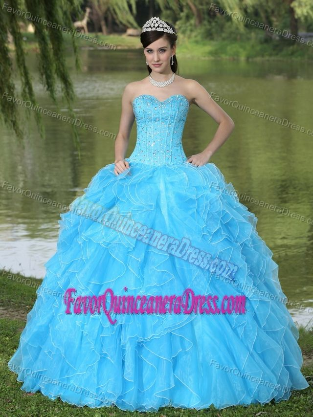 Special Beaded Ruffled Organza Aqua Blue Quince Dress with Corset Back
