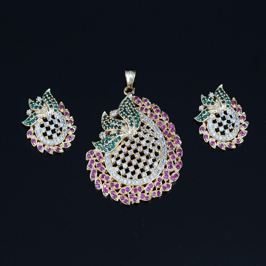 Joyeria Zircon Fashion Indian Bollywood Designer Gold Plated Necklace set