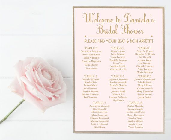 Bridal Shower Seating Chart Guest List Sign Wedding Blush Etsy Bridal Shower Blush Wedding Wedding