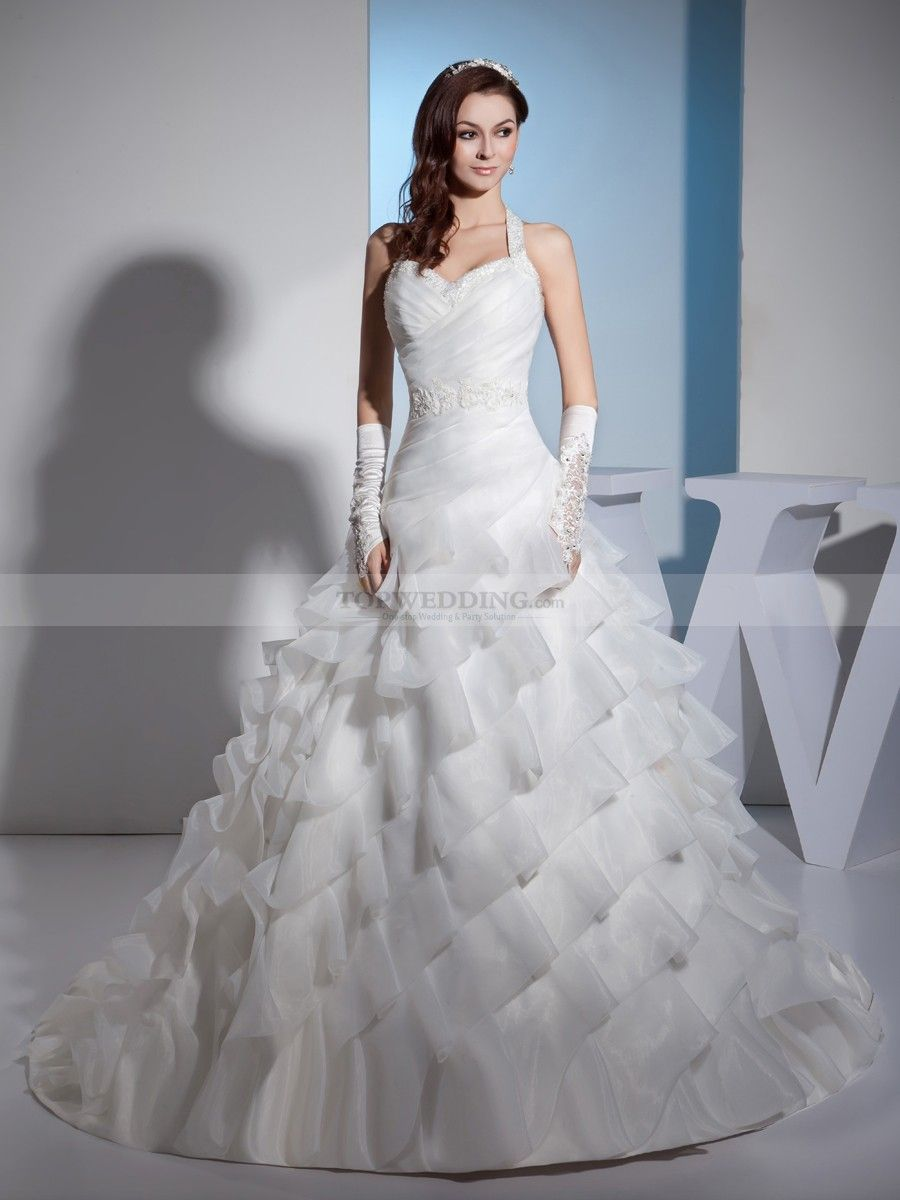 Pleated wedding dress  Halter Sweetheart Beaded and Pleated Wedding Gown with Ruffle Tiers
